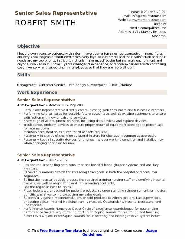Senior Sales Representative Resume example