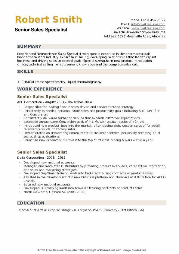 Senior Sales Specialist Resume example