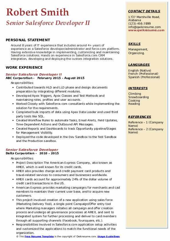 senior salesforce developer resume samples  qwikresume