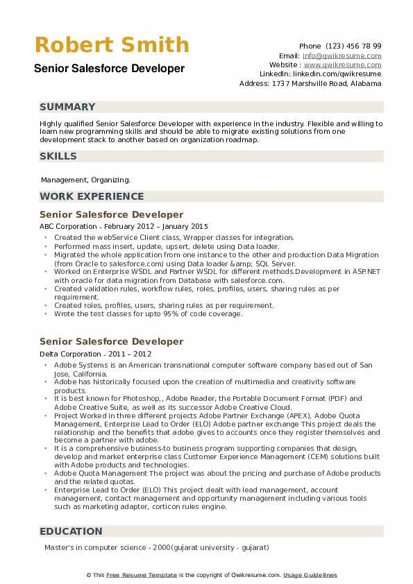 Senior Salesforce Developer Resume example