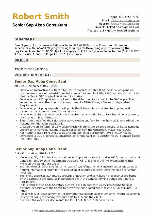Senior SAP ABAP Consultant Resume example