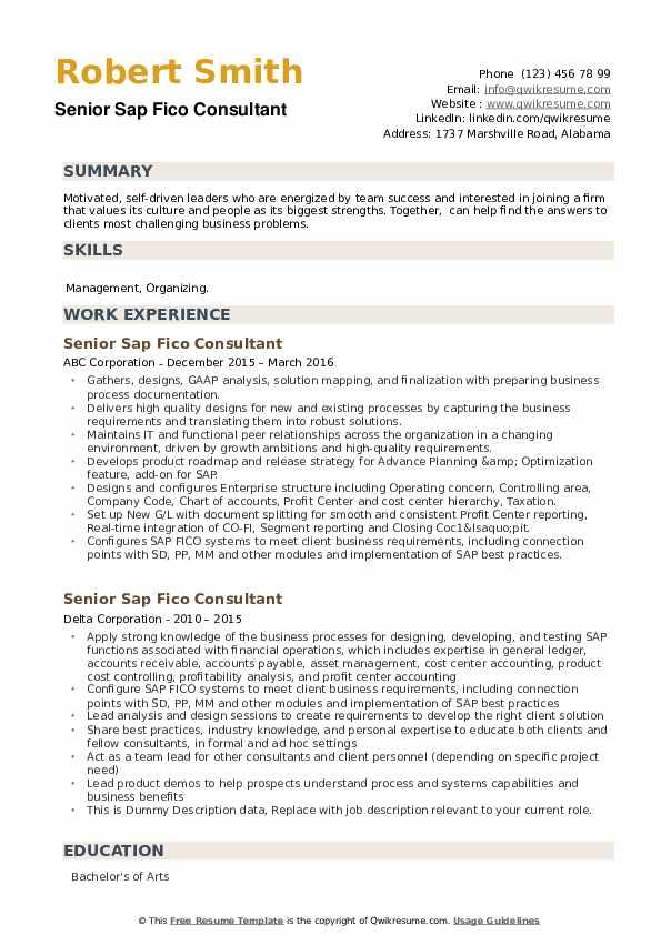 Senior Sap Fico Consultant Resume Samples Qwikresume