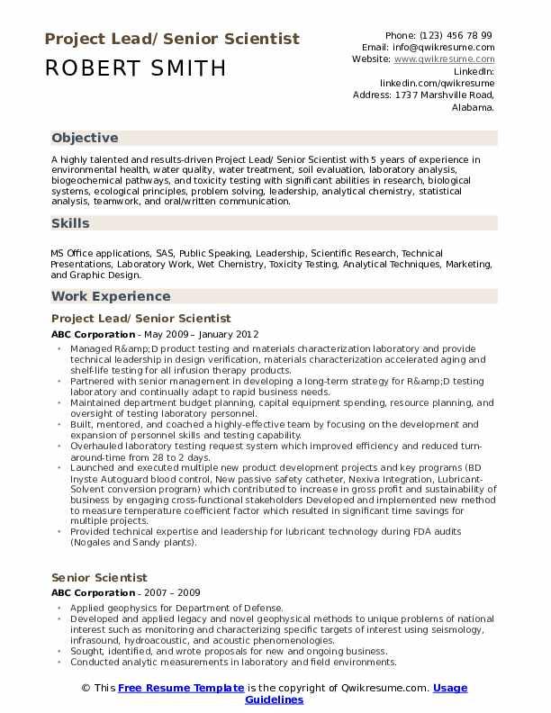 Project Lead/ Senior Scientist Resume Model