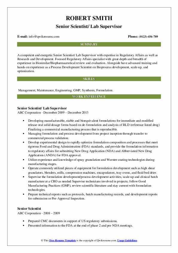 Senior Scientist/ Lab Supervisor Resume Template