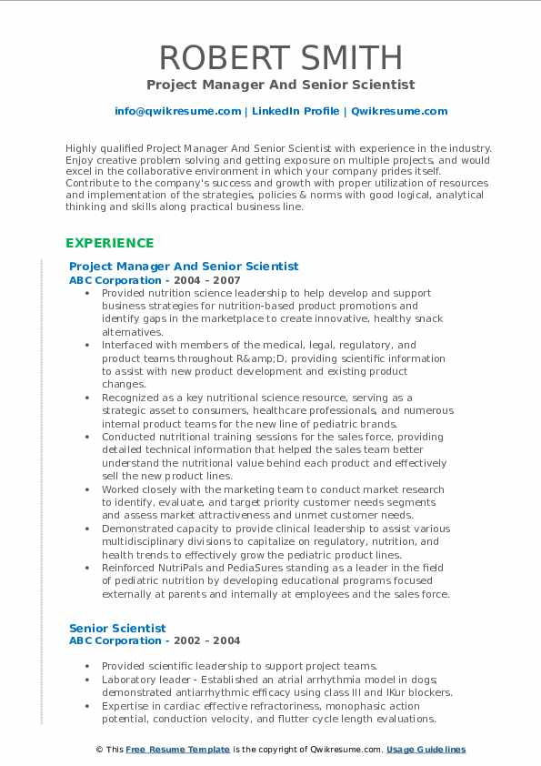 Project Manager And Senior Scientist Resume Model