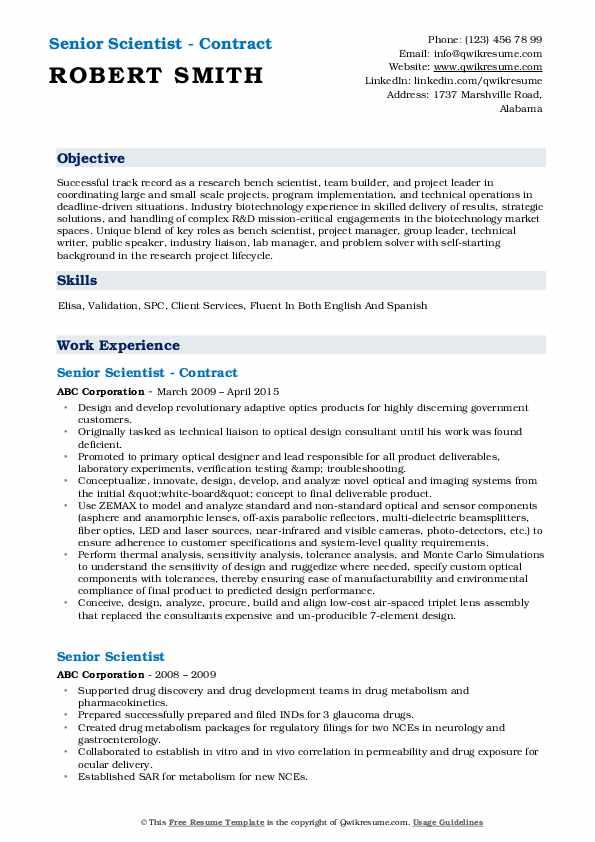 Senior Scientist - Contract Resume Model