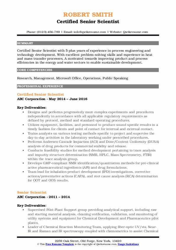 senior scientist resume samples