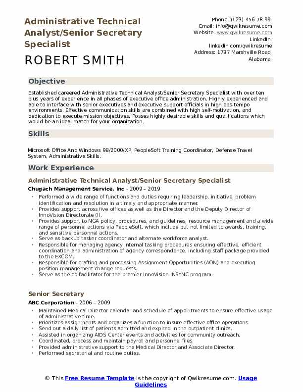 Administrative Technical Analyst/Senior Secretary Specialist Resume Example