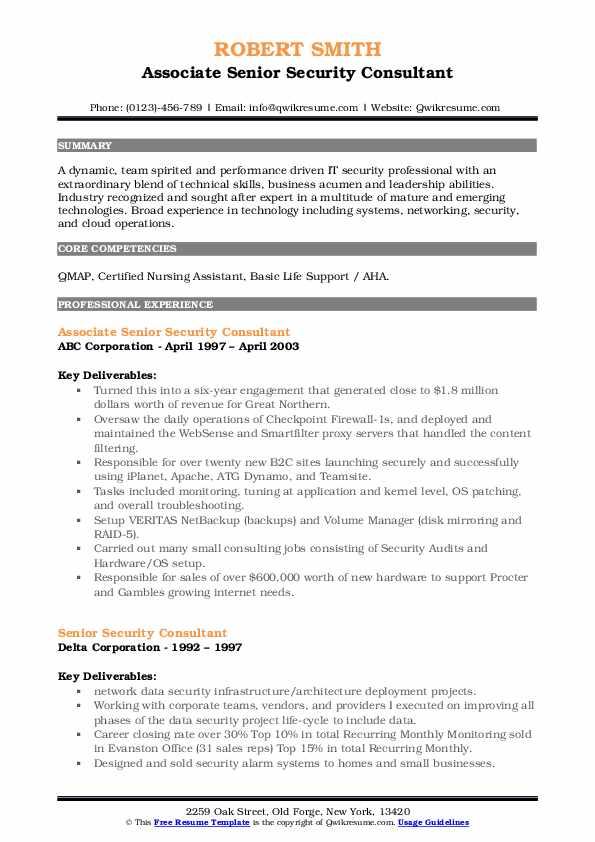senior security consultant resume samples