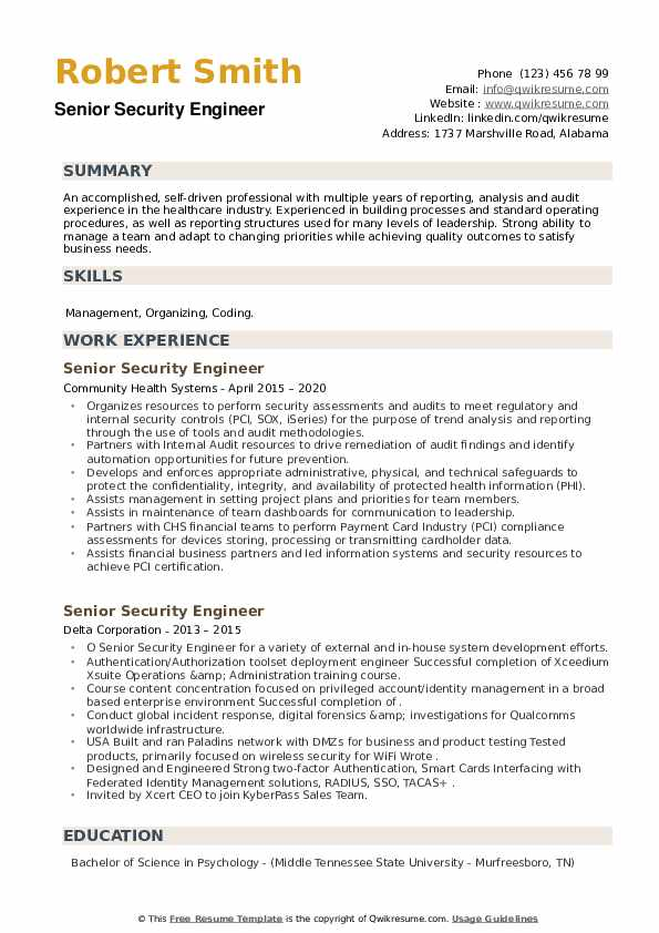 Senior Security Engineer Resume example
