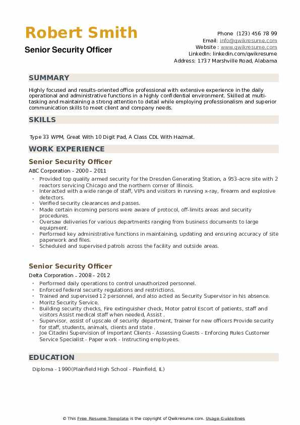 Senior Security Officer Resume example