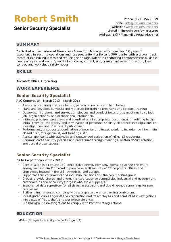 Senior Security Specialist Resume example