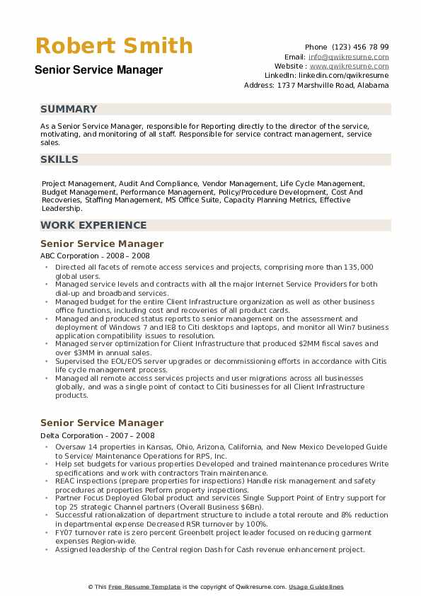 Senior Service Manager Resume example