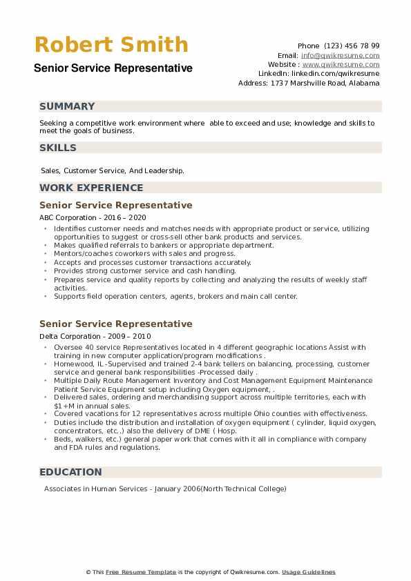 Senior Service Representative Resume example