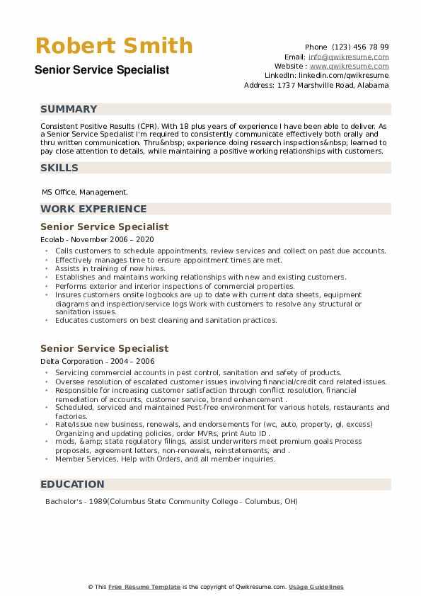 Senior Service Specialist Resume example