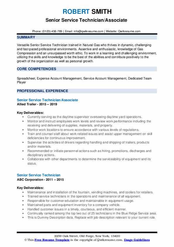 Senior Service Technician/Associate  Resume Format