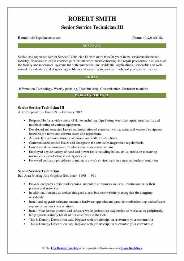 Senior Service Technician III Resume Sample