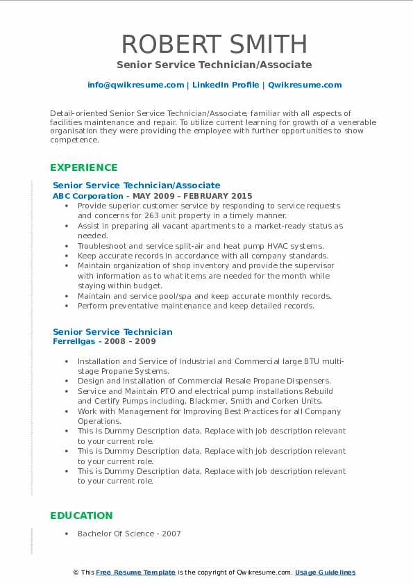 Senior Service Technician/Associate Resume Example