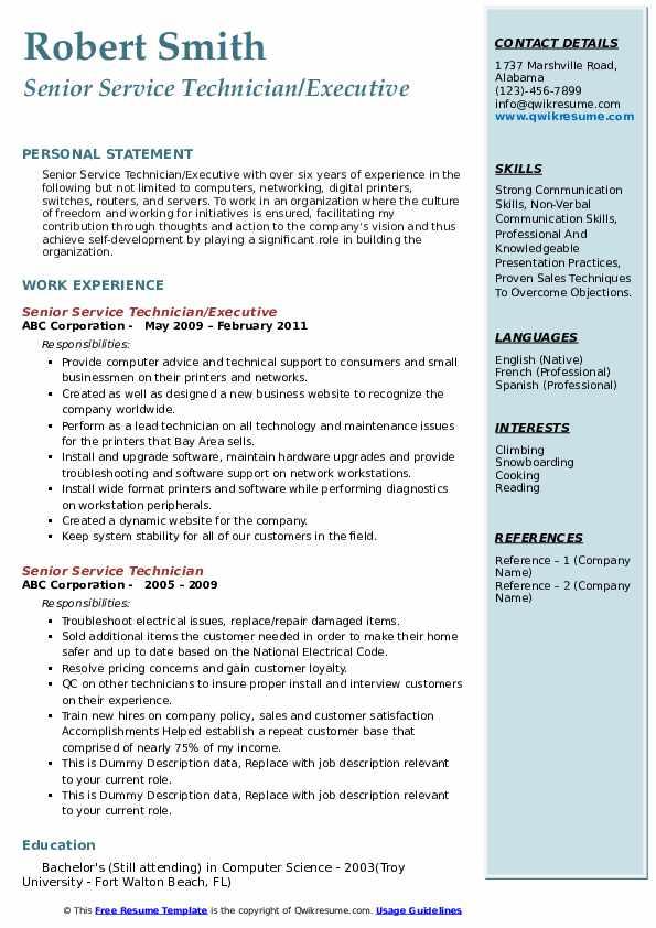 Senior Service Technician/Executive Resume Example
