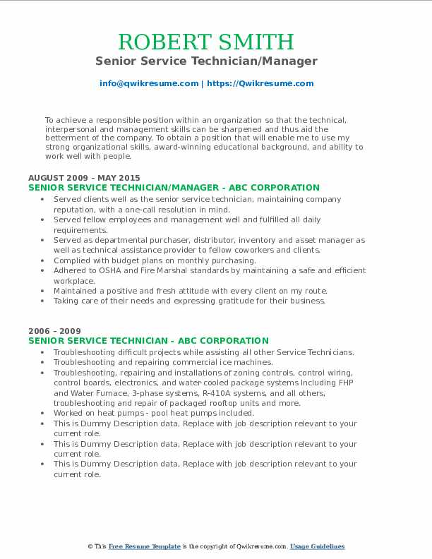 Senior Service Technician/Manager Resume Sample