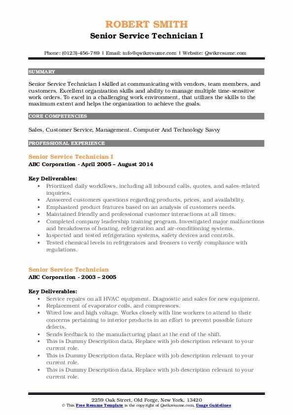 Senior Service Technician I Resume Format