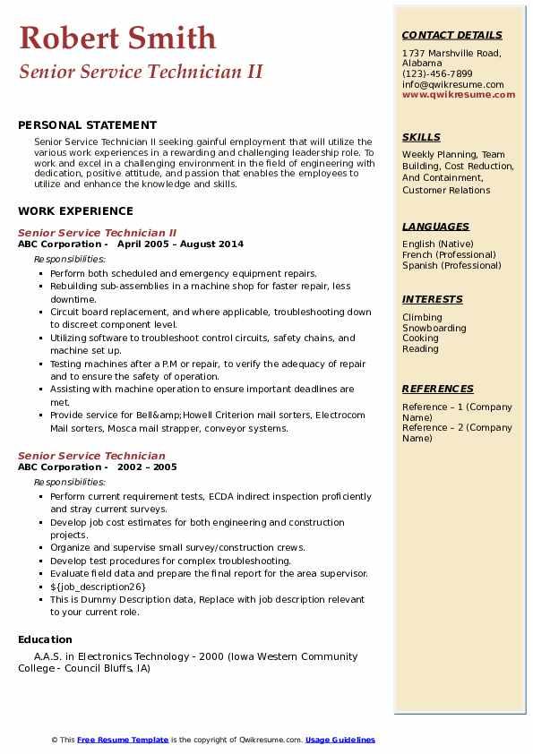 Senior Service Technician II Resume Example