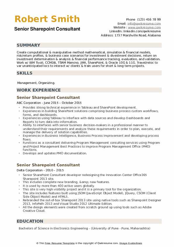 Senior Sharepoint Consultant Resume example