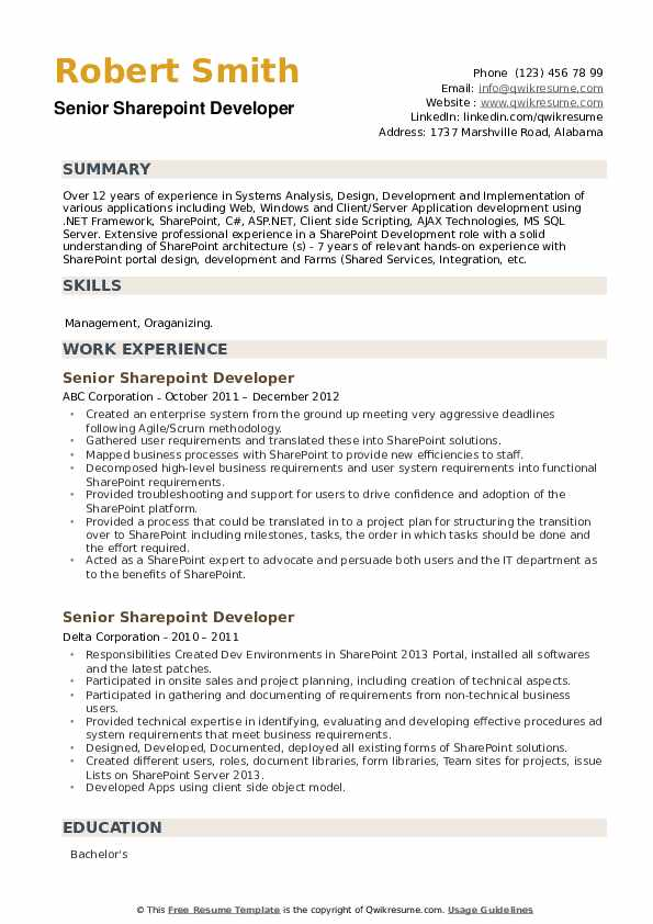Senior Sharepoint Developer Resume example