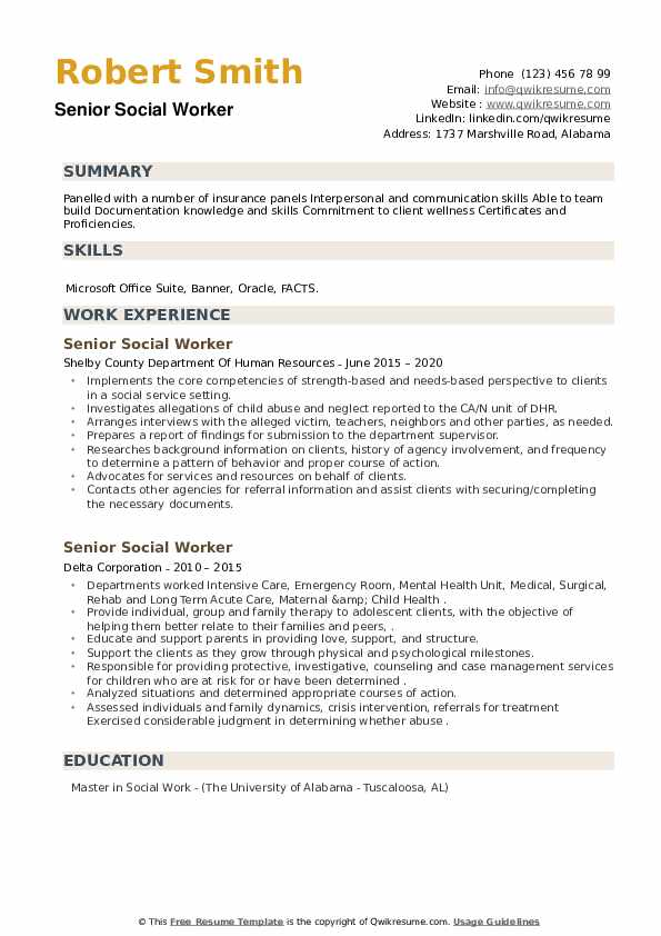 Senior Social Worker Resume example