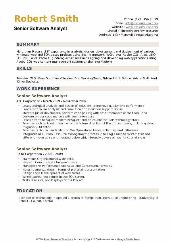 Senior Software Analyst Resume example