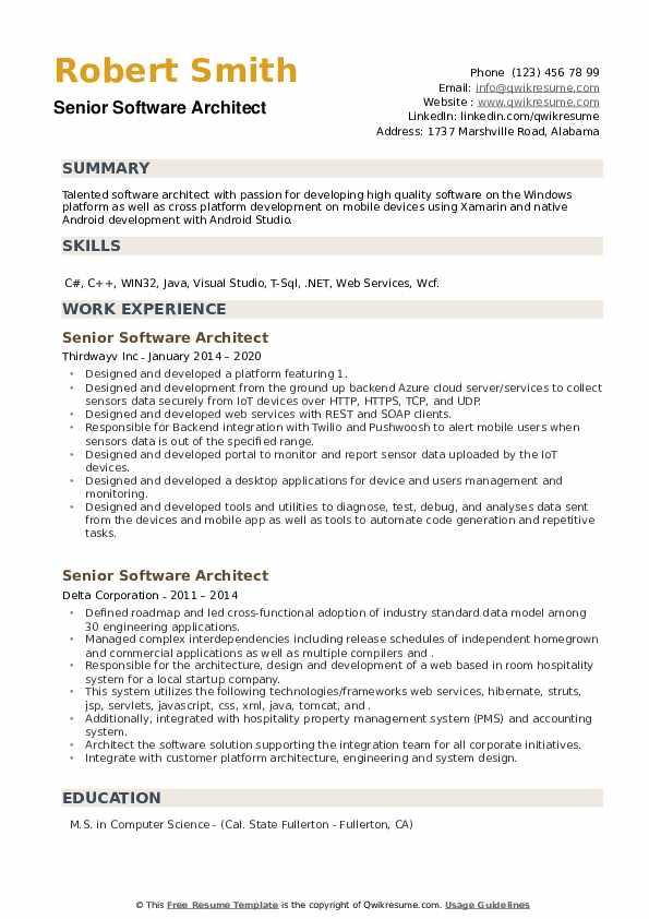 Senior Software Architect Resume example