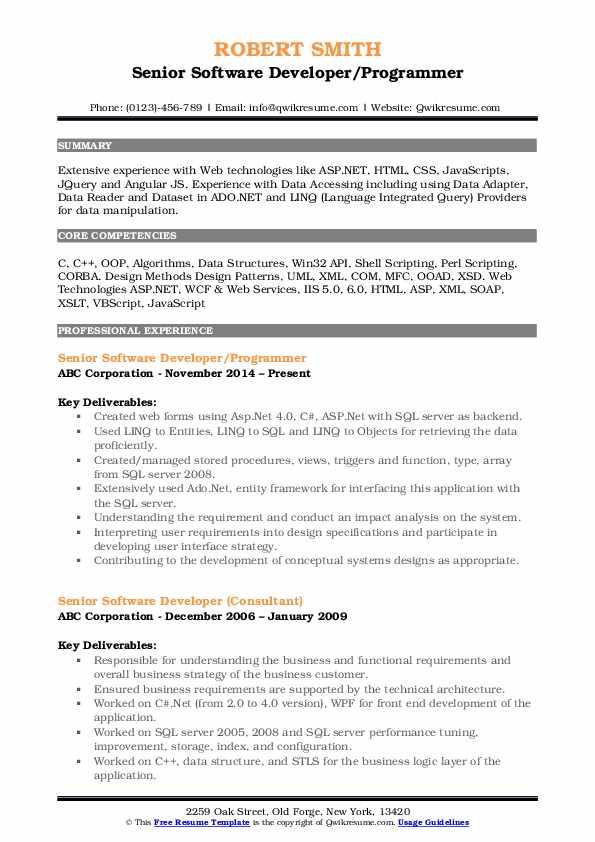 Senior Software Developer/Programmer Resume Format