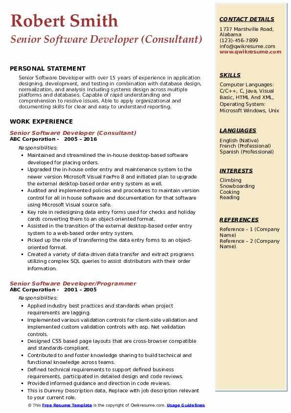 Senior Software Developer (Consultant) Resume Sample