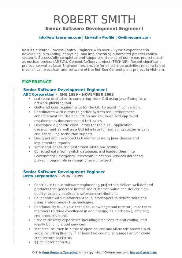 Senior Software Development Engineer Resume Samples