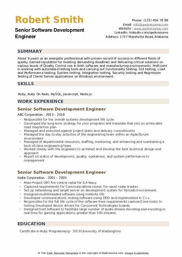 Senior Software Development Engineer Resume example