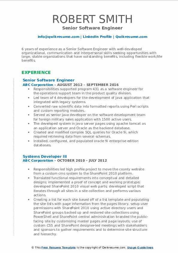 senior software engineer resume samples  qwikresume