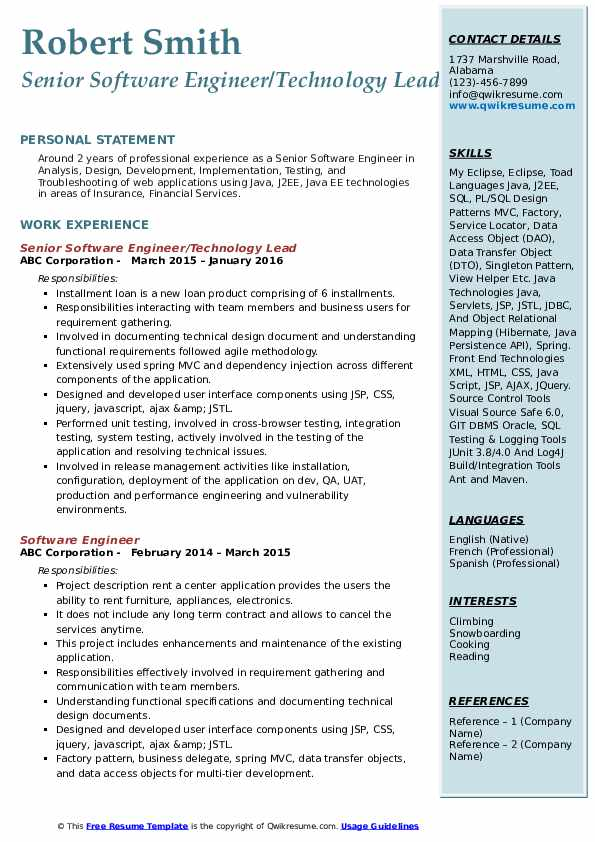 Senior Software Engineer/Technology Lead Resume Format