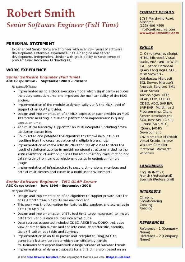 Senior Software Engineer Resume Samples | QwikResume