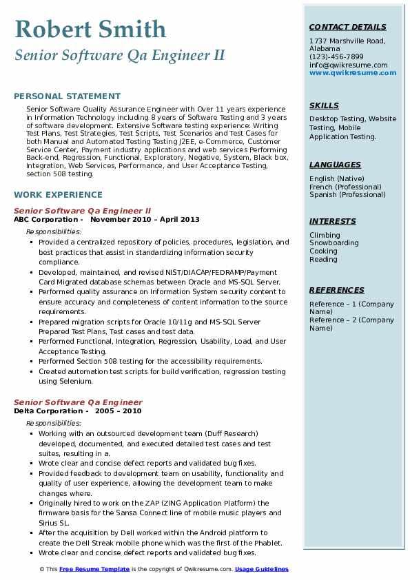 senior software qa engineer resume samples  qwikresume