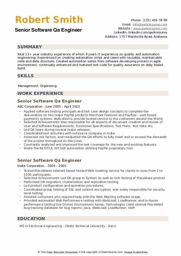 Senior Software Qa Engineer Resume example