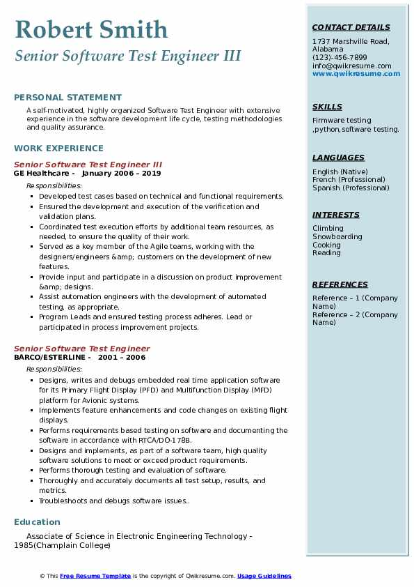 senior software test engineer resume samples  qwikresume