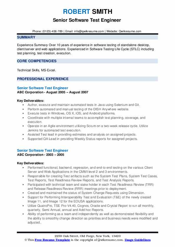 Senior Software Test Engineer Resume example
