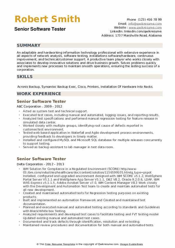 Senior Software Tester Resume example