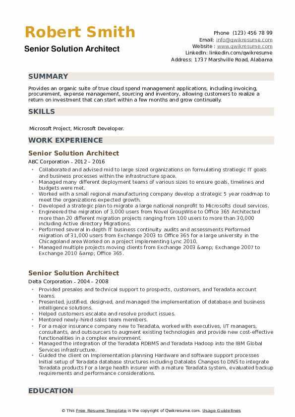 Senior Solution Architect Resume example