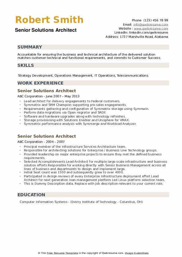 Senior Solutions Architect Resume example
