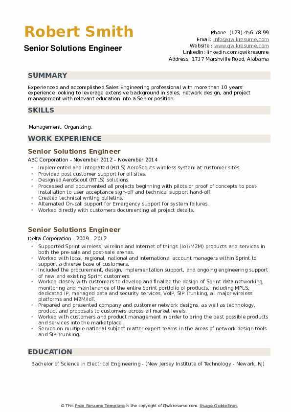 Senior Solutions Engineer Resume example
