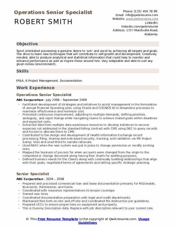 Operations Senior Specialist Resume Format