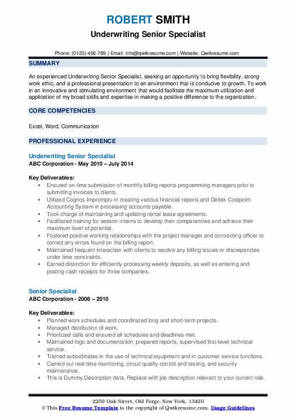 Underwriting Senior Specialist Resume Model