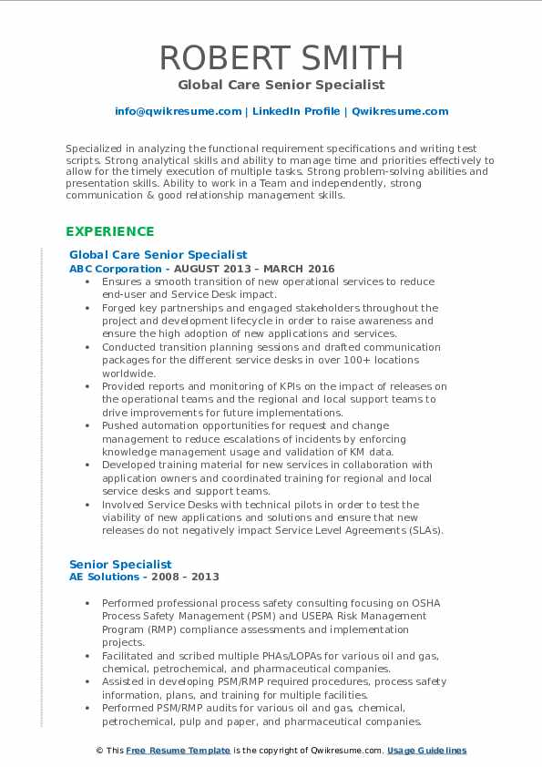 Global Care Senior Specialist Resume Format