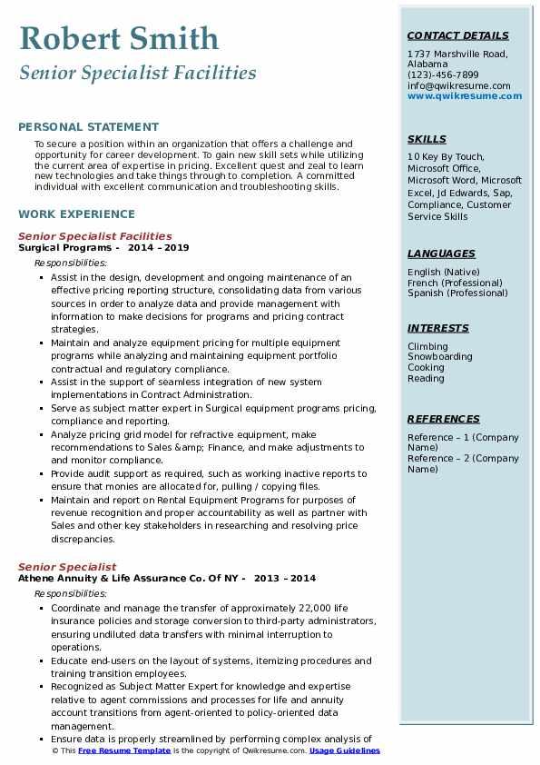 Senior Specialist Facilities Resume Example